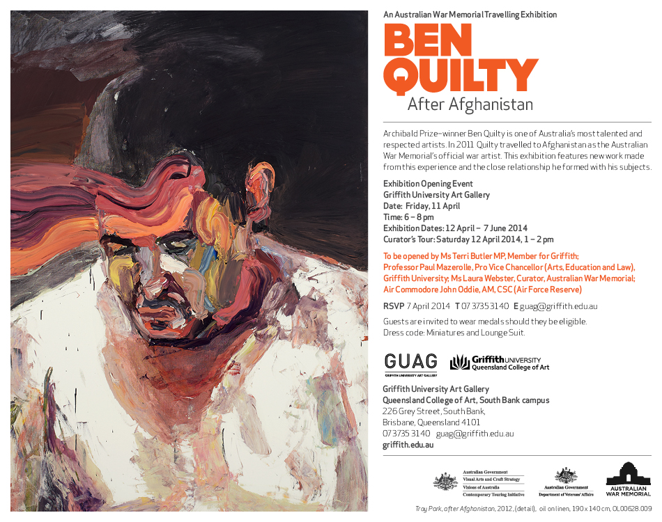Ben Quilty After Afghanistan Exhibition Invitation