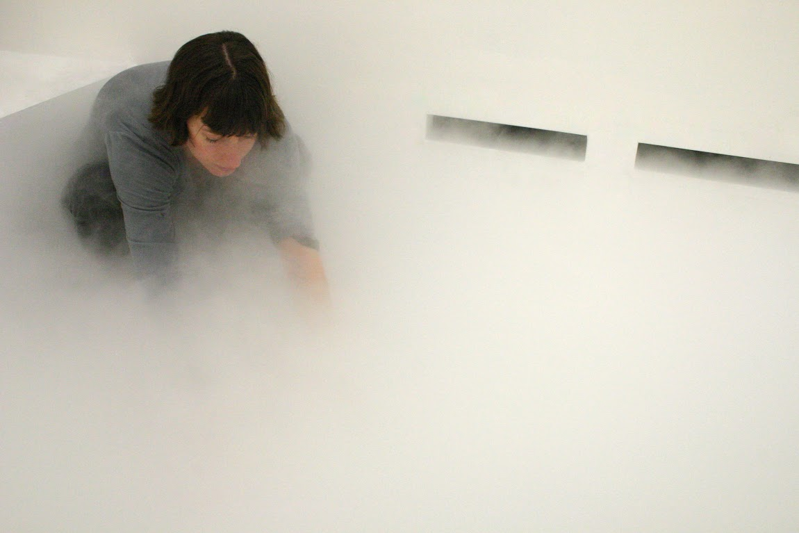 Michaela Gleave b.1980, Alice Springs, NT. Cloud Field - Föhn Bank 2007. timber, plaster, water, misting units, water distribution system 335 x 588 x 254cm. Courtesy of the artist and Anna Pappas Gallery, Melbourne
