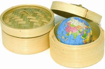 straw baskets with a globe inside