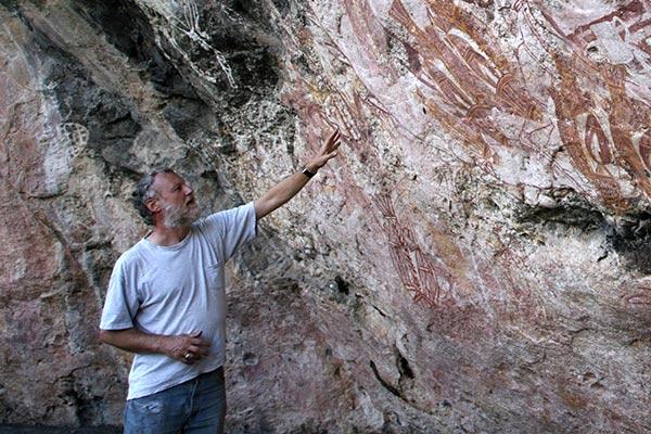 Paul admiring rock wall