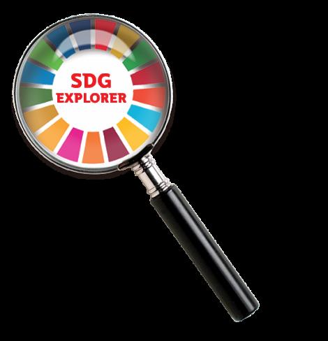 SDG explorer colour wheel in magnifying glass