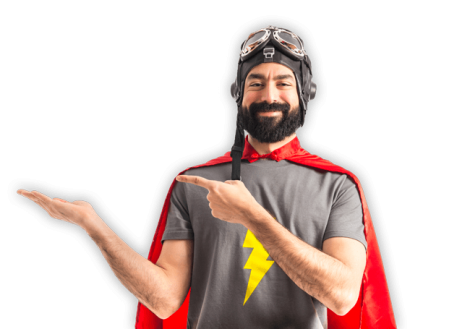 Man in super hero suit pointing