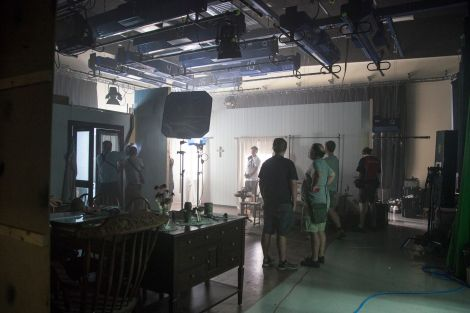 Staff and students on set filming