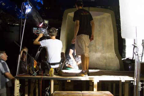 Students on set filming