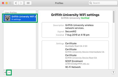 Remove user profile></div></li>   <li>Click <em>Ok</em> then click <em>Apply</em> andclose the <em>Network Preferences</em></li>   <li>Go to <em>Applications</em> then <em>Utilities</em></li>   <li>Start <em>Keychain Access</em> application</li>   <li>As per screenshot below remove all 'Internet Connect', 'AirPort network password' and other entries that named <em>Griffith University</em><br />   <div class=