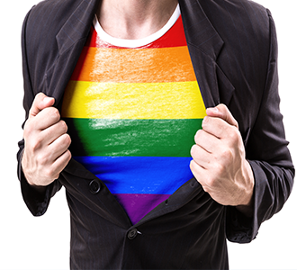 Pride shirt under business jacket