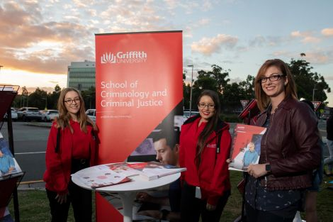 Discover Griffith event criminology stall