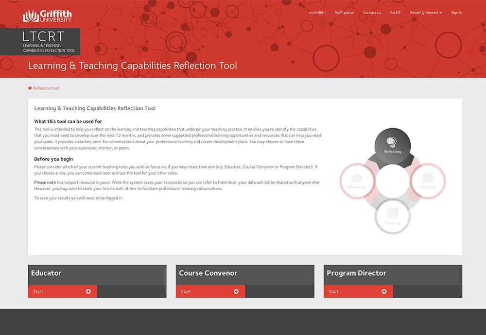 Screenshot of the Teaching Capabilities Reflection Tool