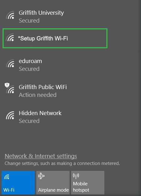 Select *Setup Griffith Wi-Fi