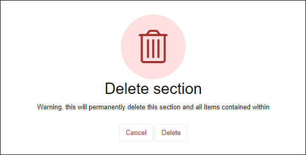 Delete section warning message