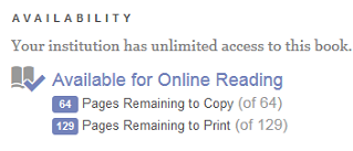 Screenshot of ebrary example copying and printing limits