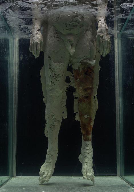 Jacques van der Merwe, Selfportret/Self-portrait (Suspense), detail of wax leg, 2019-2020. Mixed medium, (52cm x 52cm x 120cm) x 2