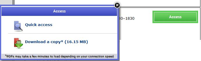 Screenshot of Taylor and Francis download options