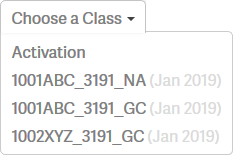 Choose a Class dropdown for Analytics Report