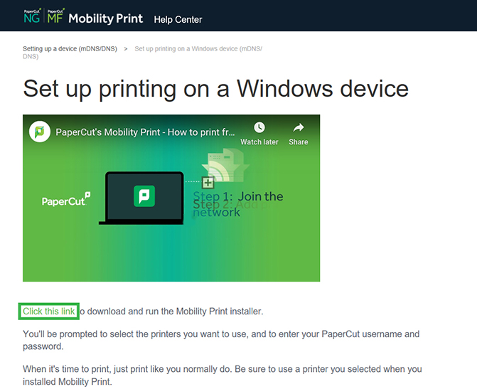 PaperCut Mobility Print - How to print