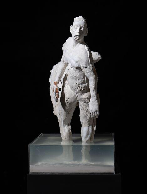 Jacques van der Merwe, Selfportret/Self-portrait (Rebeginning), 2020. Plaster of Paris, cotton wool, bandages, water, beeswax, acrylic, 52cm x 52cm x 100cm.