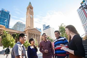 Students outside Brisbane City Hall