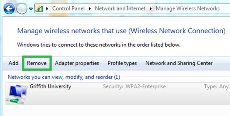 Disconnect Griffith University Wi-Fi